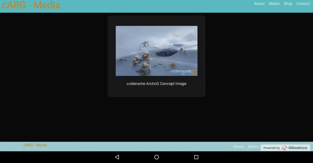 codename Arctic G media page displayed on tablet in landscape mode.