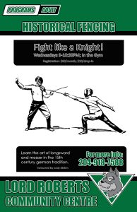 Poster made for Lord Roberts Community Centre 'Fight like a Knight!' historical fencing classes.