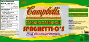 Label redesign of Spaghetti-o's made for the Graphic Design Program at Red River College.