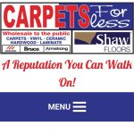 Carpets For Less Winnipeg homepage on smartphone.