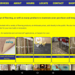 Carpets For Less Winnipeg Products page on tablet in landscape mode.