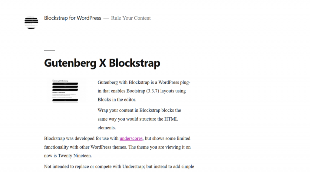 The homepage of Blockstrap: a WordPress plugin (Desktop)