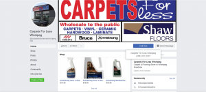 Facebook business page of Carpets For Less. Set-up using my social media and Shopify services.